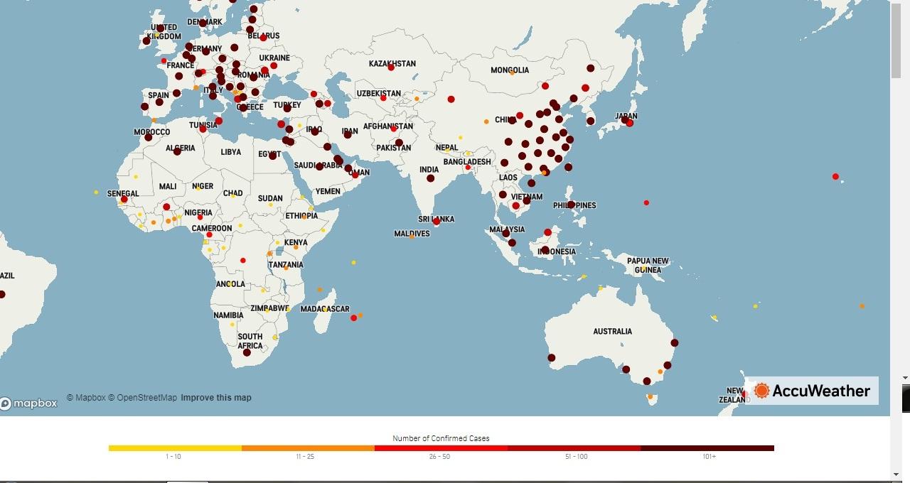 worldwise Coronavirus affected Countries