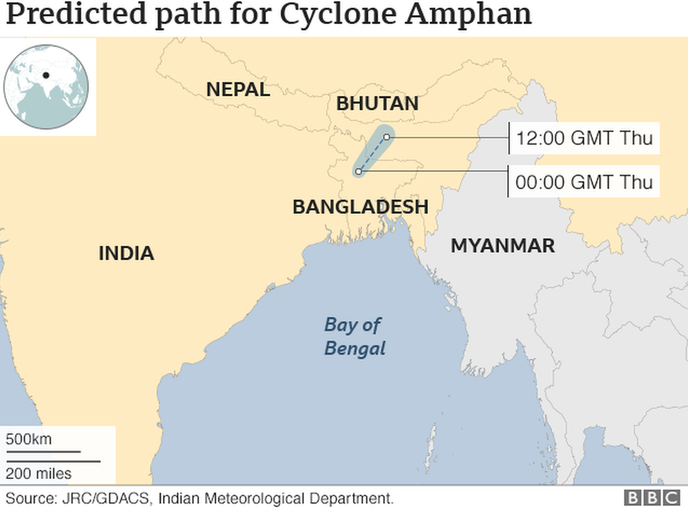 Cyclone Amphan Path Map of 21st May 2020